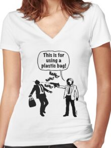 Cartoon: Anti-Plastic Waste Activist / Anti-Plastikmüll-Aktivist Women's Fitted V-Neck T-Shirt