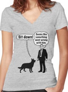 Cartoon, dog & lordling: Sit down! Something went wrong! Women's Fitted V-Neck T-Shirt