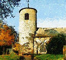 St Mary's Church, Syderstone, Norfolk - pillow & tote by Dennis Melling