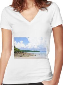 Beautiful tropical beach with white sand blue waters and colorful rocks Women's Fitted V-Neck T-Shirt