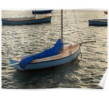 Blue Boat at Sunset Poster