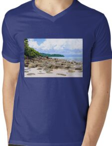 Beautiful tropical beach with white sand blue waters and colorful rocks Mens V-Neck T-Shirt
