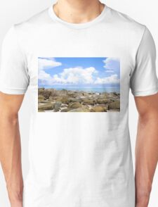Beautiful tropical beach with white sand blue waters and colorful rocks T-Shirt