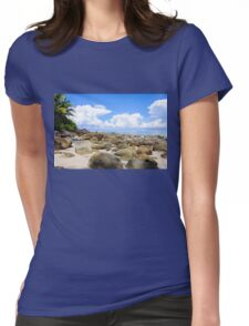 Beautiful tropical beach with white sand blue waters and colorful rocks Womens Fitted T-Shirt