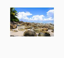 Beautiful tropical beach with white sand blue waters and colorful rocks Unisex T-Shirt
