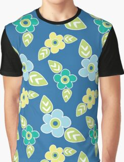 Mod Flowers on Blue Background Graphic T-Shirt
