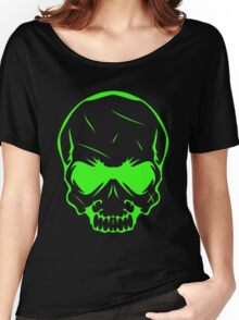 Scary Neon Green Skull Head Women's Relaxed Fit T-Shirt
