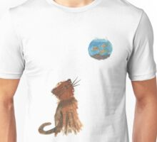 Kitty Sees Three Fishes  Unisex T-Shirt