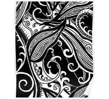 Forest Floor Aussie Tangle 019 in Black with Transparent Background Poster