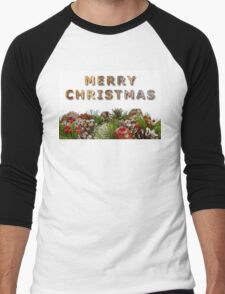 Merry Christmas With Decorative Wreath Men's Baseball ¾ T-Shirt