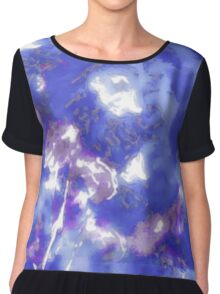 Hibiscus Impressionist Series - Blue Chiffon Top