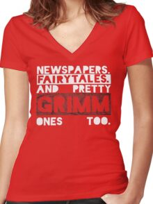 Newspapers. Fairytales. Women's Fitted V-Neck T-Shirt