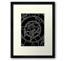 Stained Glass Rose Black Framed Print
