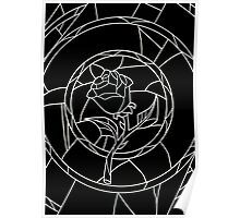 Stained Glass Rose Black Poster
