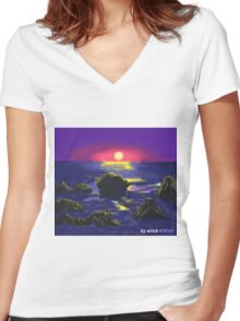 Warming earth Women's Fitted V-Neck T-Shirt