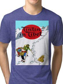 Tintin in Tibet Cover Print Tri-blend T-Shirt