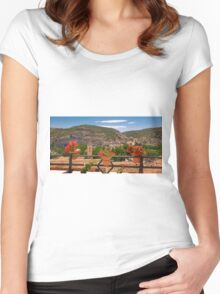 A view from a balcony - Alcalá del Júcar Women's Fitted Scoop T-Shirt