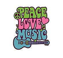 Peace Love Music Photographic Print