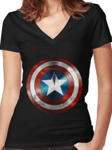 captain america Women's Fitted V-Neck T-Shirt