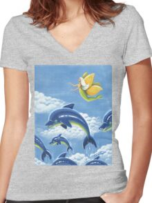 Dolphin Nymph voyages - acrylic painting Women's Fitted V-Neck T-Shirt