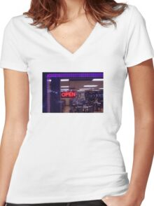9:54, stop at a diner Women's Fitted V-Neck T-Shirt