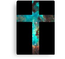 Green Galaxy Cross Canvas Print
