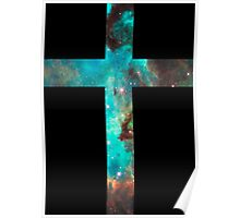 Green Galaxy Cross Poster