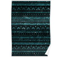 Aztec Black Tinsel Blue Poster