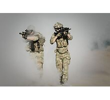 soldier walk aout from somke in front line in war  Photographic Print