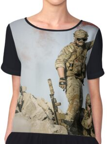 red somke from soldiers in front line  Chiffon Top