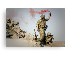 red somke from soldiers in front line  Canvas Print