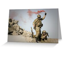 red somke from soldiers in front line  Greeting Card
