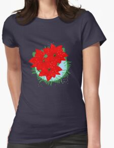 Pretty Poinsettia Red Christmas Flowers Festive Floral Wreath Womens Fitted T-Shirt