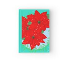 Pretty Poinsettia Red Christmas Flowers Festive Floral Wreath Hardcover Journal