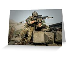 soldier in the front lines of war  Greeting Card