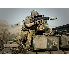 soldier in the front lines of war  Photographic Print