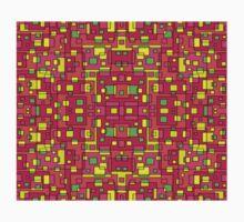 60s Squares Colorful Pattern Dress Skirt Duvet One Piece - Short Sleeve