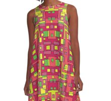 60s Squares Colorful Pattern Dress Skirt Duvet A-Line Dress