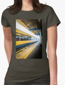 The train leaving platform . . . . .  Womens Fitted T-Shirt