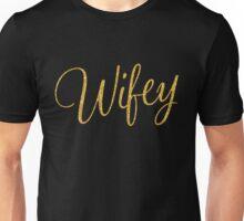 Black Wifey Gold Sequins Effect Unisex T-Shirt