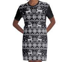 Jacquard with Reindeers Graphic T-Shirt Dress