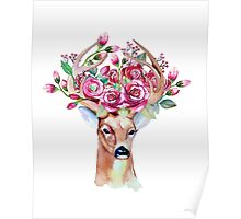 Shy watercolor floral deer Poster