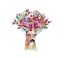 Shy watercolor floral deer Photographic Print