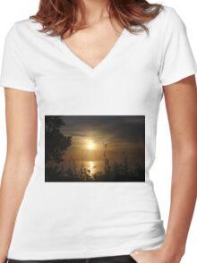 Sunrise in Sheboygan, Wisconsin Women's Fitted V-Neck T-Shirt