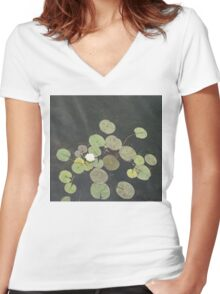 Lily Pad Cute Visitor - A Little Turtle Emerging Among The Waterlilies  Women's Fitted V-Neck T-Shirt