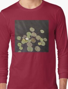 Lily Pad Cute Visitor - A Little Turtle Emerging Among The Waterlilies  Long Sleeve T-Shirt