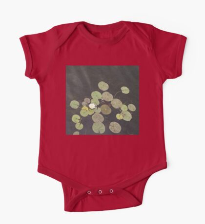 Lily Pad Cute Visitor - A Little Turtle Emerging Among The Waterlilies  One Piece - Short Sleeve
