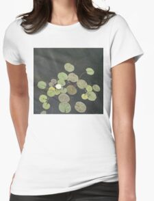 Lily Pad Cute Visitor - A Little Turtle Emerging Among The Waterlilies  Womens Fitted T-Shirt