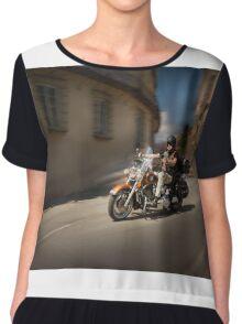 Harley Davidson rider in Malaga Chiffon Top