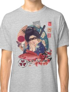 Collage Geisha Samurai in Coral, Indigo and Marsala Classic T-Shirt